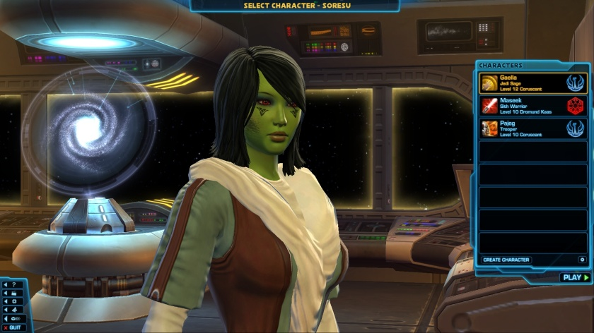 My Jedi Consular Sage character Gaella. So far the game is pretty fun and entertaining, and what else can you ask from a PC game?